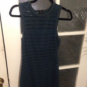 Silence + Noise Teal Mesh Mini Dress